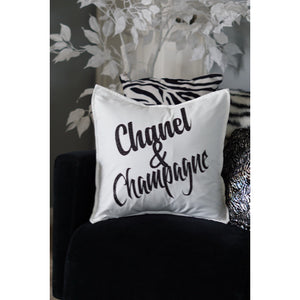 Chanel Champagne 18x18 Decorative White Glitter Gold or Black PILLOW COVER