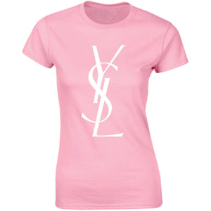 YSL Inspired White Lettering on Pink Womans Ladies Fitted Short Sleeve Shirt