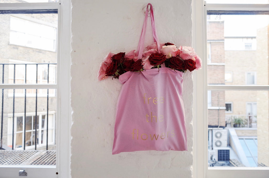 Free The Flowers Pink Cotton Tote Bag
