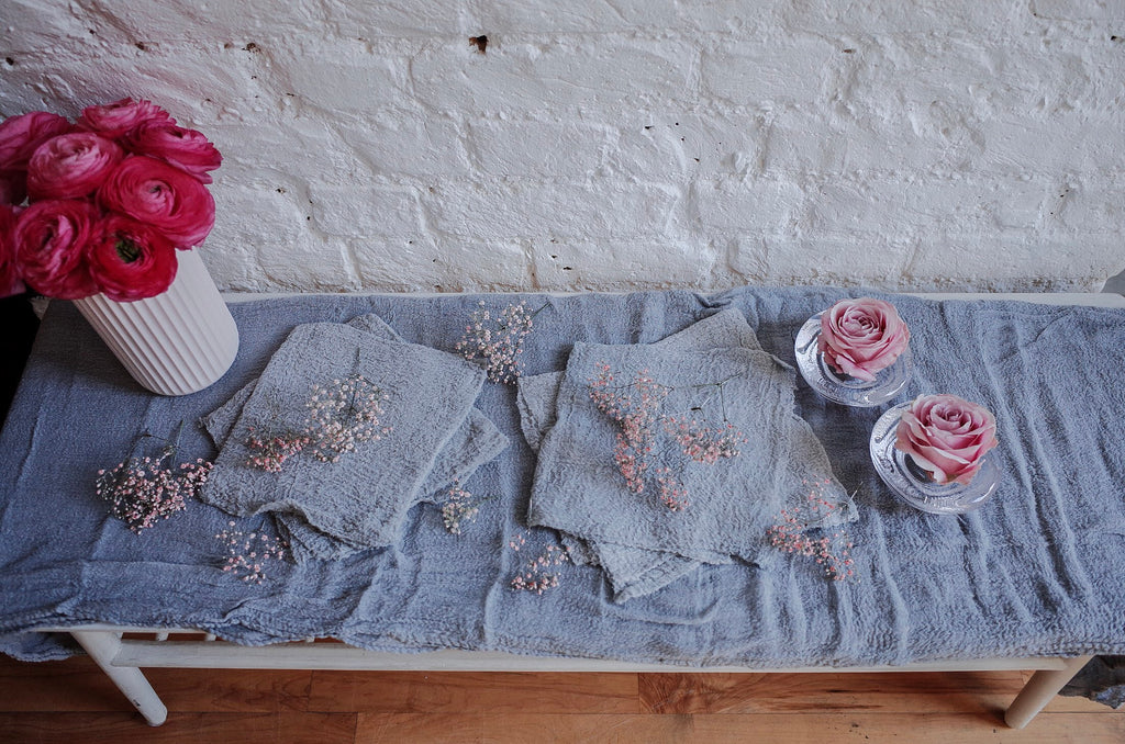 Grey Hand Dyed Cotton Table Runner - 3m
