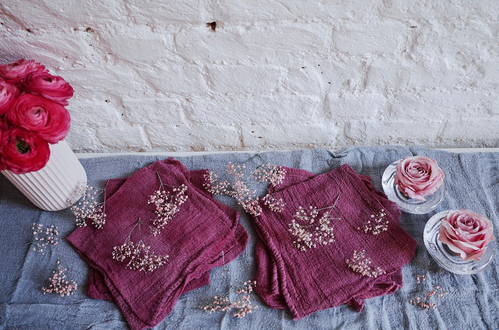 Peony Pink Hand Dyed Cotton Napkins