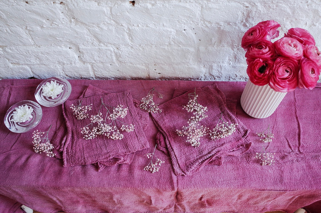 Peony Pink Hand Dyed Cotton Table Runner - 3m