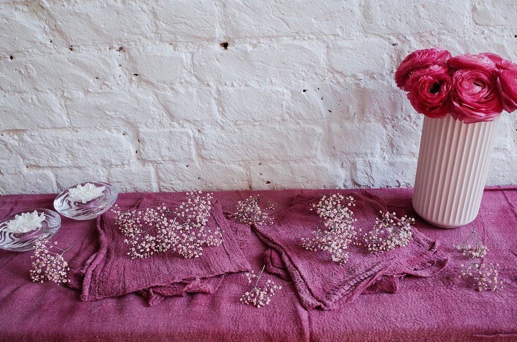 Peony Pink Hand Dyed Cotton Table Runner - 4m
