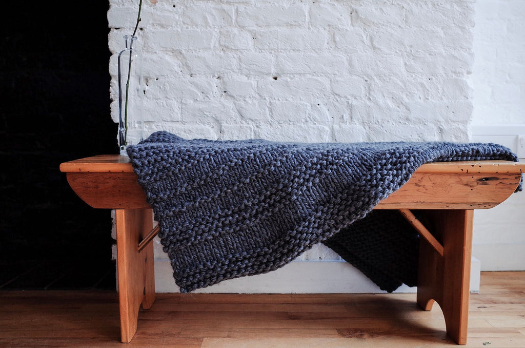 Knit Textured Chunky Wool Throw - Dark Grey