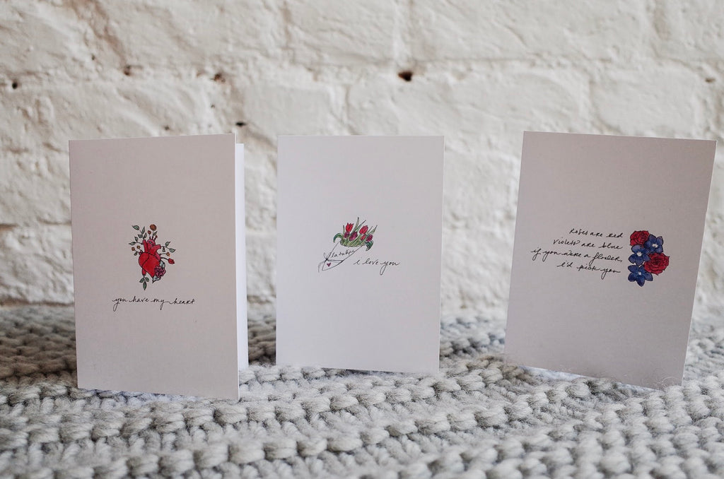 Romance Greeting Cards - Set of 3