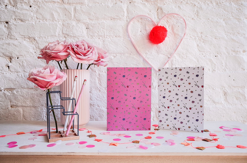 Roses Are Red Notebook and Pencil Set - 2 Notebooks and 2 Pencils