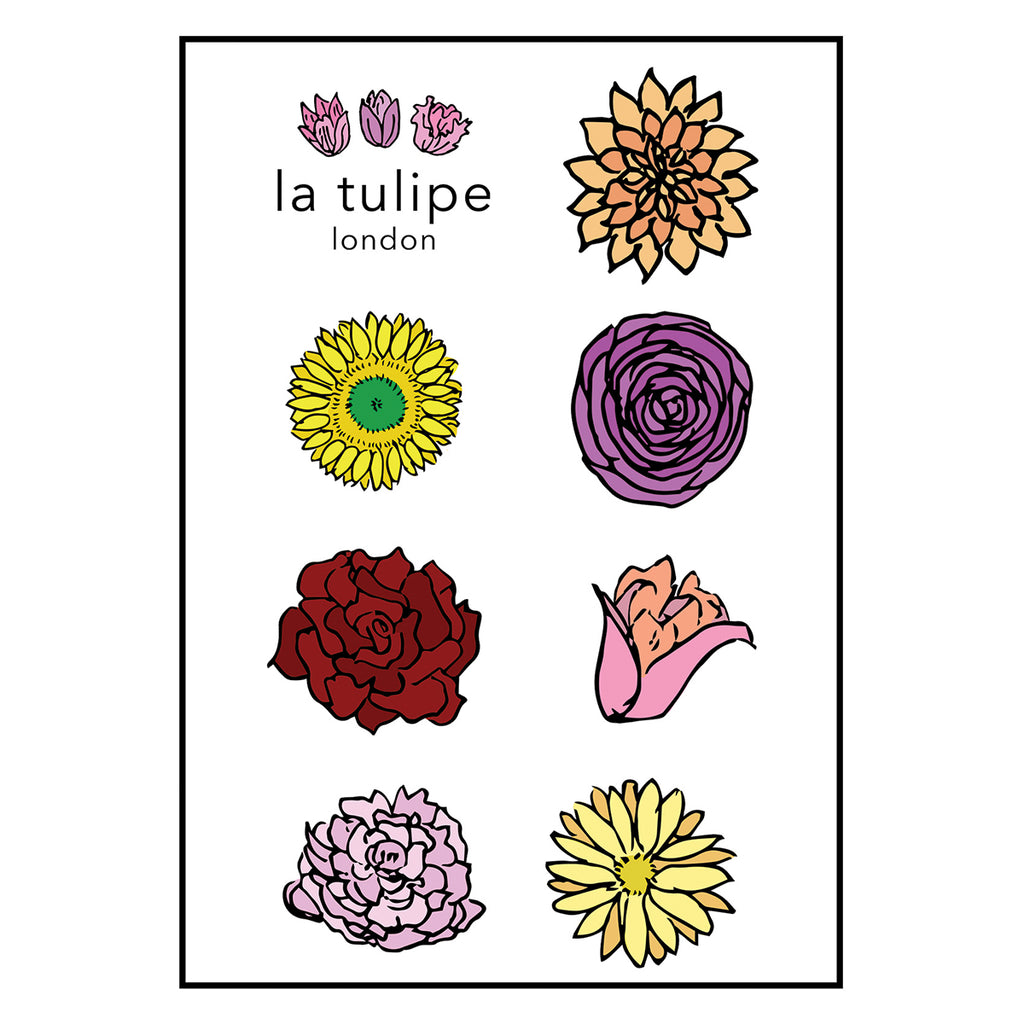 Flower Temporary Tattoo Sheet