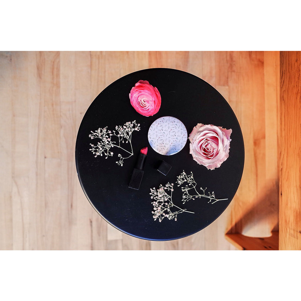 Floral Print Pink Compact Mirror