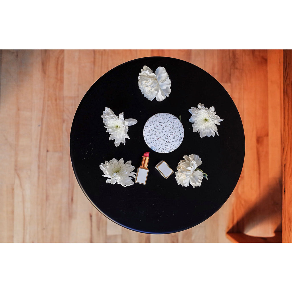 Floral Print White Compact Mirror