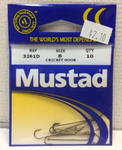 Mustad Poly Bag Hooks Bronze Cricket 10 Per Carton - Size 10 Order 10