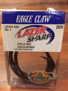 Eagle Claw Lazer Circle Sea Hook Platinum Black Heavy Wire 3/Pack Size 20/0