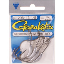Gamakatsu Weighted Superline With Spring Lock 1/16Oz - Size 3/0 - 4 Per Pack