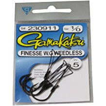 Gamakatsu Weedless Finesse Hook Wide Gap Black Size 1/0 - 5 Per Pack