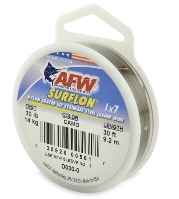 AFW Surflon Nylon Coated Wire 30' Camo 30LB