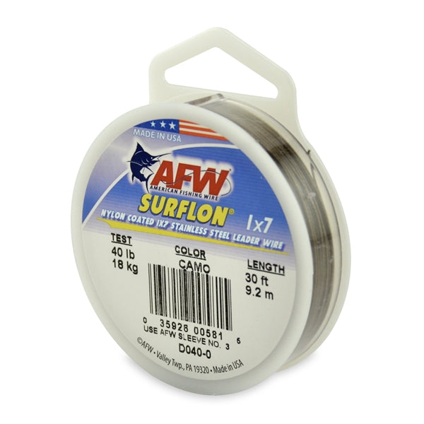 AFW Surflon Nylon Coated Wire 30' Camo 40LB