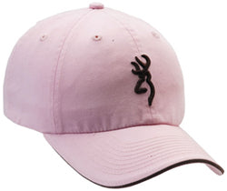 Browning Twill Cap with 3D Buckmark and Pipe Brim Pink Brown Semi Fitted