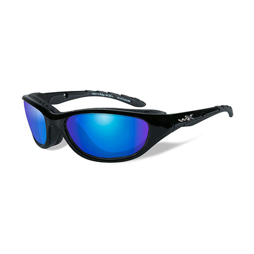 Wiley X Polarized Sunglasses - Airrage Blue Mirror/Gloss Black Frame