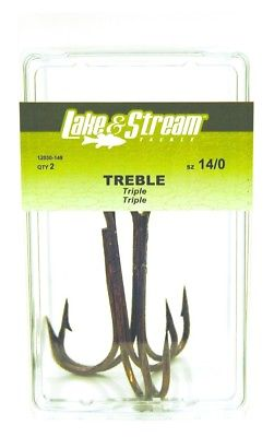 Eagle Claw Lake And Stream Bronze Trebble Hook 12/0 2 Pack