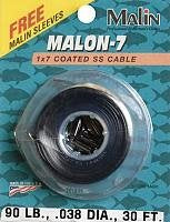 Malin Seven Strand Stainless Steel Wire Black 30' - .030 Diameter - 50Lb With 12 Sleeves