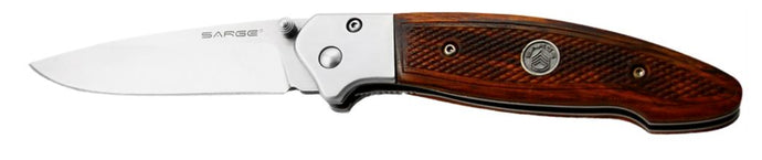 Sarge Folding Knife Pistol Wooden Folder 3.25