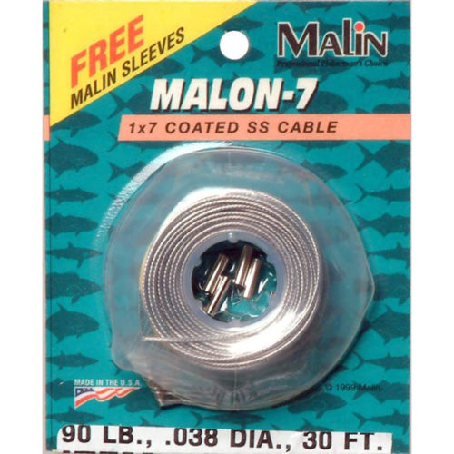Malin Seven Strand Stainless Steel Wire Clear Clear 30' - .028 Diameter - 40Lb With 12 Sleeves
