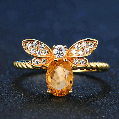 Gorgeous Honey Natural Citrine, 14K Yellow Gold plated Sterling Silver Ring (Resizable)