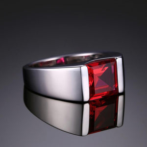 Luxurious 3.3ct Ruby, Sterling Silver Men's Ring