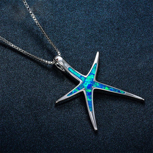 Adorable Starfish Fire Opal, Sterling Silver filled Necklace