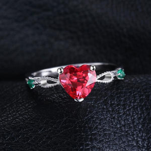 Elegant 1.7ct Ruby and Emerald , Sterling Silver Ring