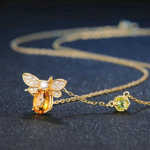 Bee Lover, Natural Citrine, 14K Gold plated Sterling Silver Necklace