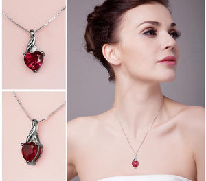 3.6ct Ruby Heart, Sterling Silver Pendant