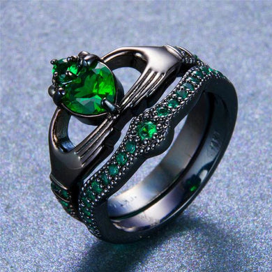 2 in 1 Romantic Emerald , Black or White Gold filled Claddagh Wedding Ring Set