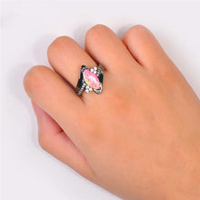 Mystic Pink Fire Opal , Black Gold Filled Ring
