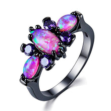 Stunning Pink Fire Opal, Blue or Black Gold filled Ring