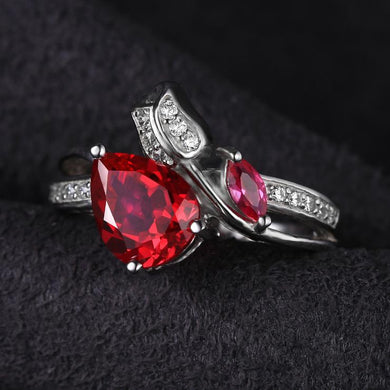 Stunning 2.5ct Ruby, Sterling Silver Ring