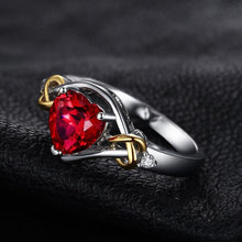 Romantic 2.5ct Ruby, Sterling Silver & 18K Yellow Gold filled Ring