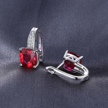 Fashionable Ruby, Sterling Silver Clip-On Earrings