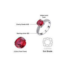 Cushion-Cut 2.2ct Ruby, Sterling Silver Ring