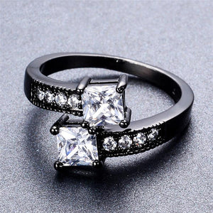Diamond Aries Birthstone Black Gold Filled Ring