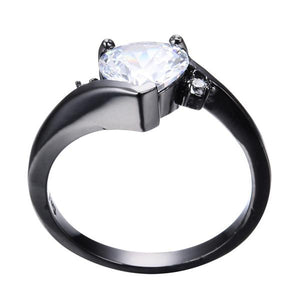 Elegant Heart Diamond cz, Black Gold filled Ring