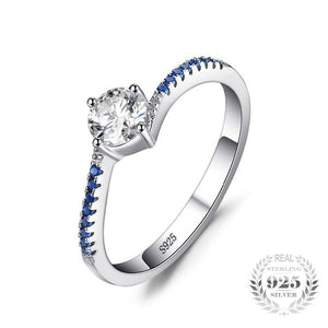 Elegant Blue Nano Sapphire and Diamond cz, Sterling Silver Ring