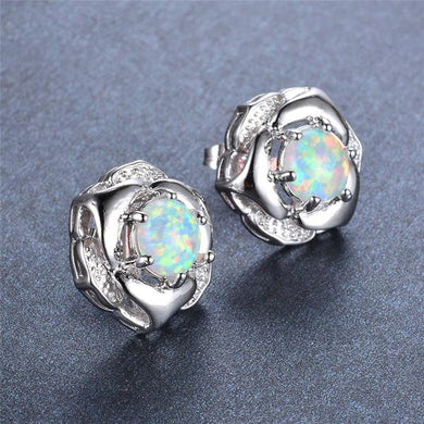 Cute Blue Fire Opal Flower, Sterling Silver Studs Earrings