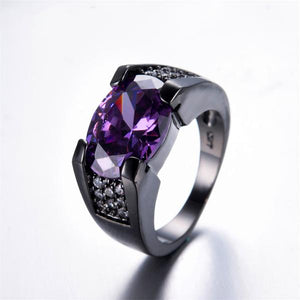 One-of-a-kind Amethyst, Black Gold filled Ring