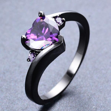 Mysterious Heart Amethyst, Black Gold filled Ring