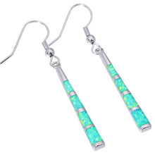 Gorgeous Green Fire Opal, Sterling Silver Drop Earrings
