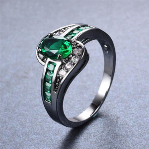 Emerald, 10K Black Gold and White Gold filled Ring
