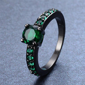 Vintage Emerald, Black Gold filled Ring