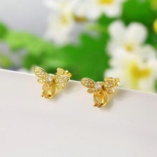 Honey Lover Natural Citrine, 14K Yellow Gold plated Sterling Silver Stud Earrings
