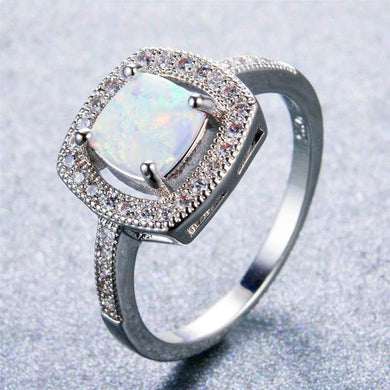White Fire Opal, Sterling Silver Ring