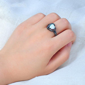 Stunning White Fire Heart Opal, Black Gold filled Ring